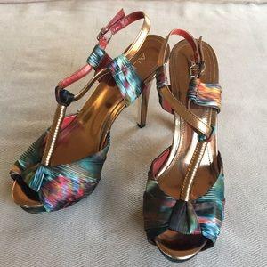 Aldo bronze jewel-tone multi-colored heels